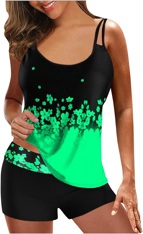 RIZI 2021 Womens Tankini Floral Printed Tummy Control Swimsuits Bathing Suit Plus Size Two Pieces Swimwear Bikini Set