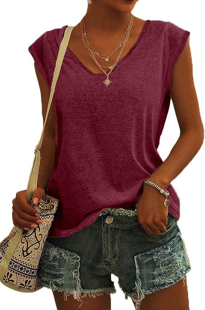 Langwyqu Womens Cap Sleeve T-Shirt Casual Loose Fit Basic Shirts Tank Tops