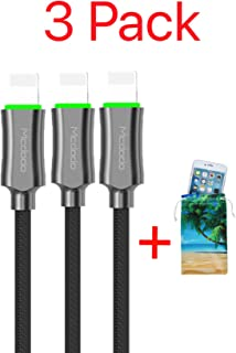 (3 Pack + iPhone Bag) Upgraded Power Off Smart LED Auto Disconnect Nylon Braided Sync Charge USB Data 6FT/1.8M Cable Compatible iPhone/iPad Pro/Air,iPad Mini,iPod (Black 3 Pack, 6FT)