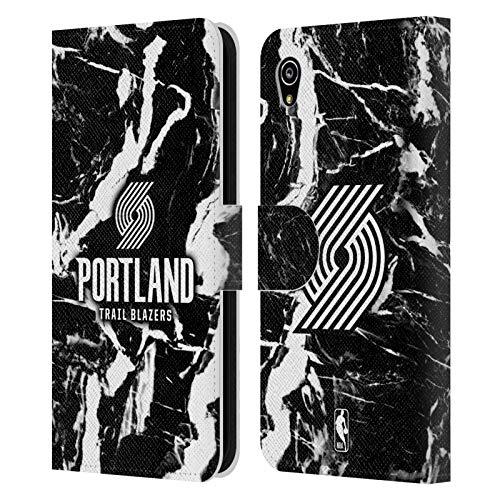 Officiële NBA Marmer 2019/20 Portland Trail Blazers Lederen Book Portemonnee Cover Compatibel voor Sony Xperia M4 Aqua