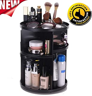 360 Rotating Makeup Organizer, DIY Adjustable Makeup Carousel Spinning Holder Storage Rack, Large Capacity Make up Caddy Shelf Cosmetics Organizer Box for Vanity Countertop Bathroom Office (Black)
