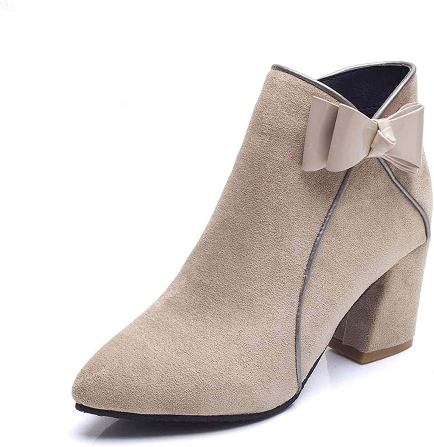 Woman Ankle Boots Bowknot Zipper High Square Heel Pointed Toe Fashion Faux Suede Sweet Ladies Winter Warm shoes