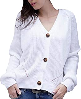 Women's Sweaters Off The Shoulder Tie Front Button Down Knit Jumper Cardigan Sweater