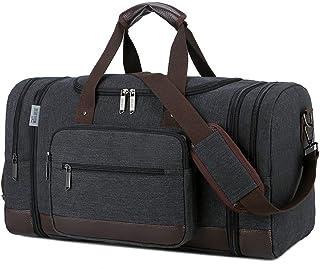 کیف مسافرتی Wohlbege Canvas Big Crossbody Bag ظرفیت بزرگ مسافرتی Tote Weekend Bag حمل راحت کیف چمدان کیف دوفل مردانه (سیاه)