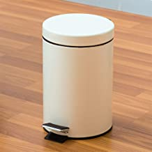 FairOnly 3L Creamy Color Pedal Style Wastebasket Trash Can with Round Cover for Bathroom