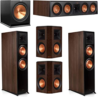 Klipsch 5.1.2 Walnut System - 2 RP-8060FA Dolby Atmos Speakers, 1 RP-504C, 2 RP-502S Speakers, 1 R-115SW