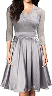 Swing Dress Women's Sexy Deep V-Neck Long Sleeve Lace Patchwork Dress (Color : Gray, Size : XXL)