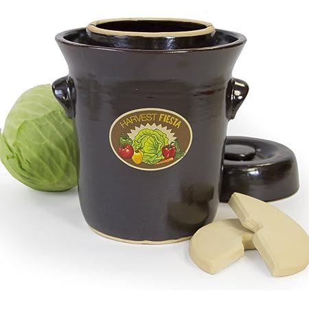 Amazon Com Tsm Products Harvest Fiesta Fermentation Pot With Stone Weight 5 Liter Condiment Pots