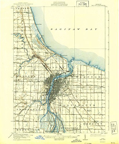 YellowMaps Bay City MI topo map, 1:62500 Scale, 15 X 15 Minute, Historical, 1919, Updated 1943, 20 x 16.5 in - Tyvek