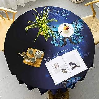 Nappe ronde bleu foncé légère Fantasy Magical Papillons Monarque Artistique Morpho Inspiration Animaux Pour amis Bleu Coba...