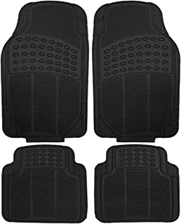 OxGord 4pc Set Tactical Heavy Duty Rubber Floor Mats- Black