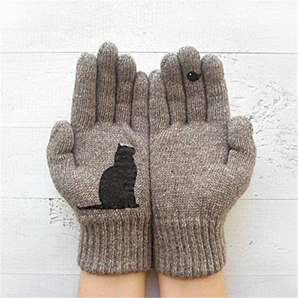 Womens Cute Winter Touchscreen Gloves Cable Knit Warm Dual-layer Touch Screen Texting Mitten Glove for Women