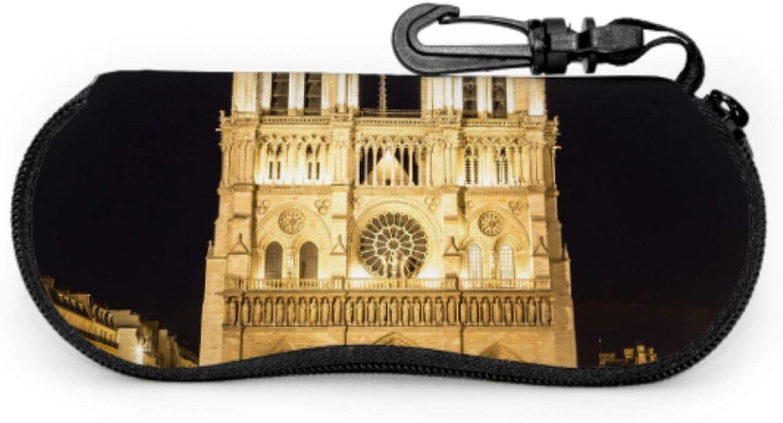 Notre Dame De Paris At Night Art Eyeglass Case Cases For Sunglasses For Men Light Portable Neoprene Zipper Soft Case Case Of Sunglasses