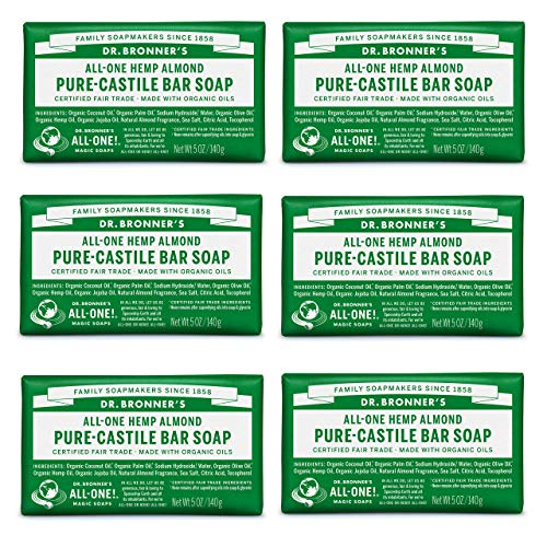 Dr. Bronner's - Pure-Castile Bar Soap (Almond, 5 ounce) - Made with Organic Oils, For Face, Body and Hair, Gentle and Moisturizing, Biodegradable, Vegan, Cruelty-free, Non-GMO (5 Ounce, 6-Pack)
