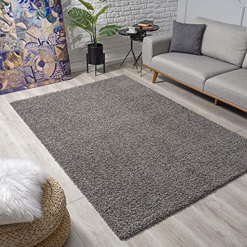 Impression Wohnzimmerteppich - Hochwertiger Öko-Tex zertifizierter Flächenteppich - Solid Color Teppich Grau - Größe 120x170