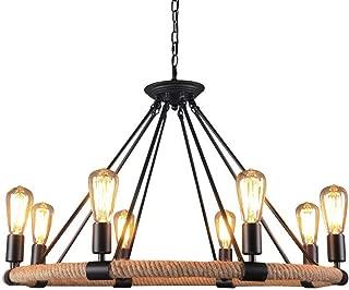 OYI Hemp Rope Style Pendant Light, 8 Lights Retro Industrial Chandelier Metal Island Light Chain Ceiling Lamp E26 Socket