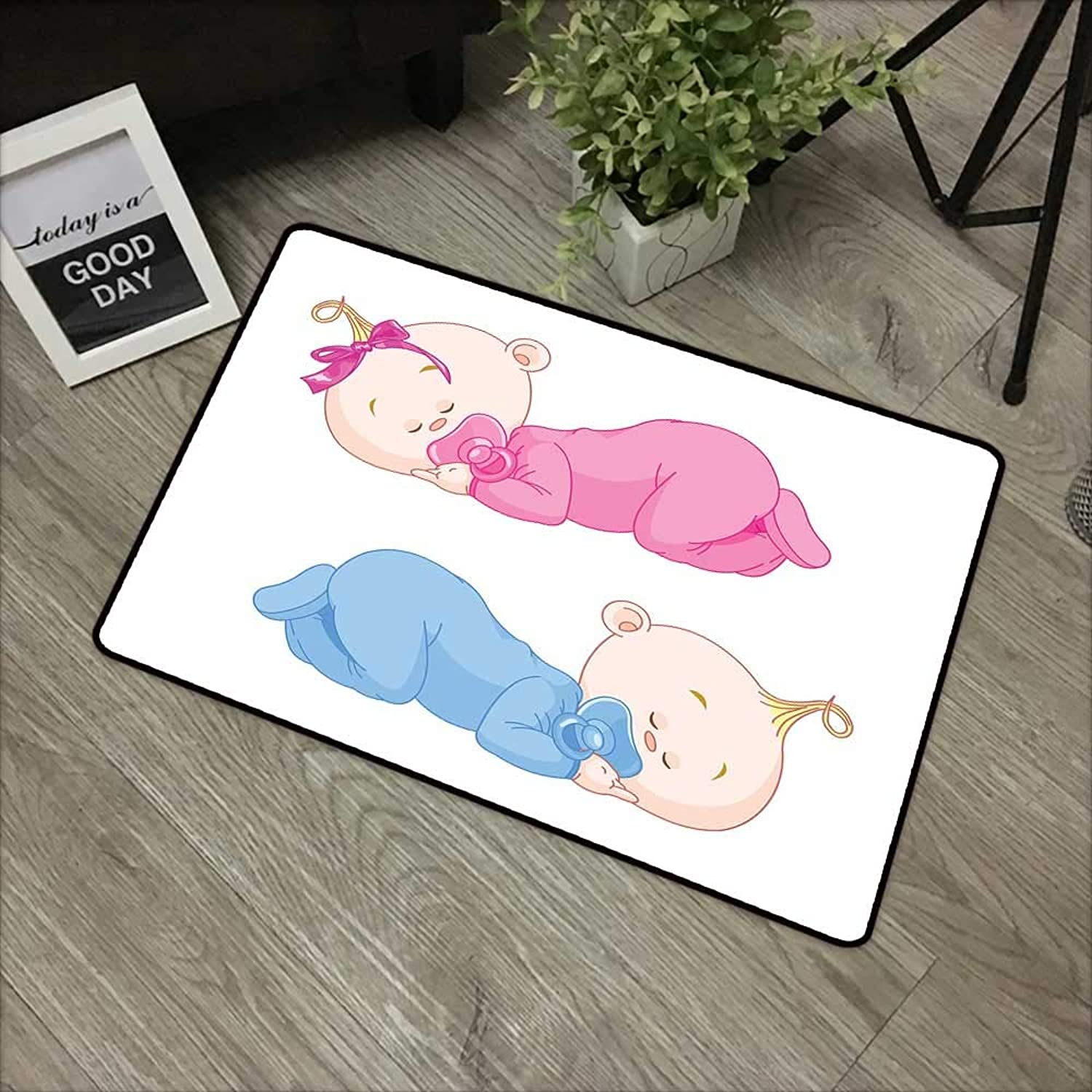 Interior mat W35 x L59 INCH Baby,Two Charming Little Twin Siblings Bredher and Sister Sleeping in Pajamas Toddler,Pink bluee Tan Easy to Clean, no Deformation, no Fading Non-Slip Door Mat Carpet