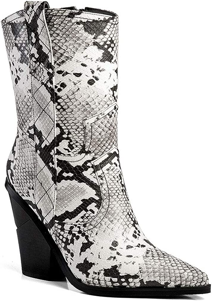 ANN CREEK Women's 'Tulan' Snake Accent Layered Stacked Heels Mid-Calf Cowgirl Boot Black/White