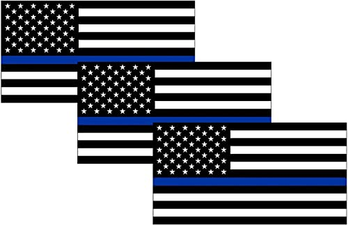 Thin Blue Line Blue Lives Matter Flag Sticker Vinyl Decal for Car Truck Window Bumper Sticker Support of Police and L...