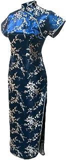 فستان سهرة صيني طويل زهري زهري أزرق داكن للسيدات من 7Fairy مقاس Cheongsam