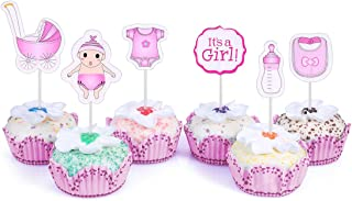 48 Cupcake Toppers It's a Girl Baby Shower Kids Party Cup Cake Decorating Supplies Pink