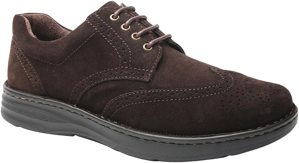 Drew Shoe Men's Delaware Fashion Oxfords, Brown, Suede, Foam, 9.5 4W