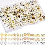 240 cuentas de metal redondas con forma de corazón en forma de estrella, cuentas espaciadoras hechas a mano para Navidad, San Valentín, bricolaje, joyería, oro, plata, oro rosa