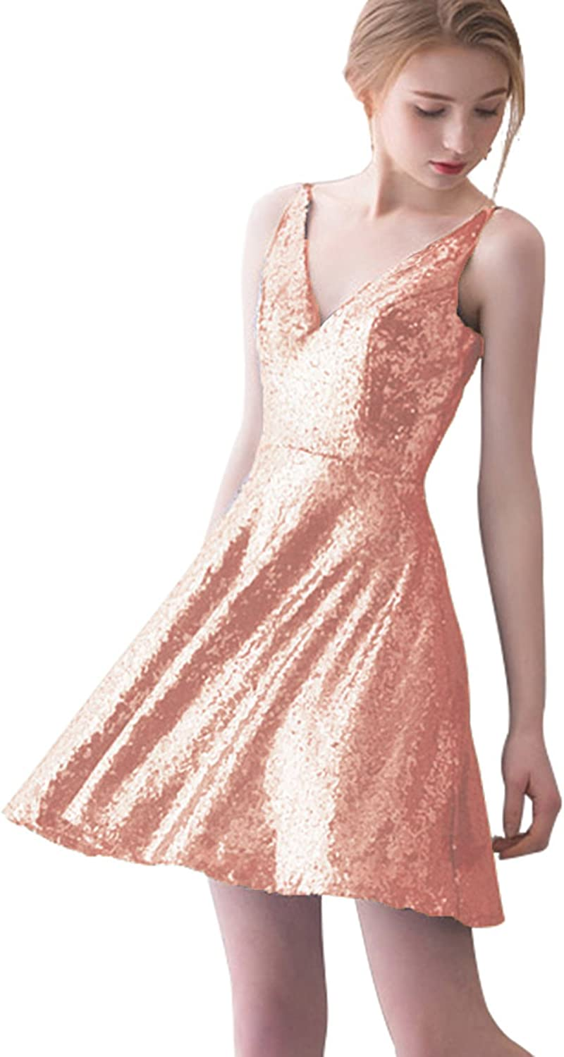 Sarahbridal Womens Short VNeck Bridesmaid Dress Sequin Wedding Party Formal Gown