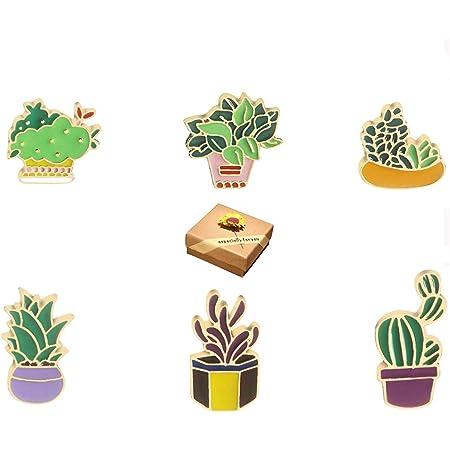 Broche,Broche de Metal,Moda Lindo Cartoon Pin Solapa Set DIY Broche Pins para Ropa Bolsas Mochilas Sombreros Jeans Chaqueta, Hermosa Caja de Regalo(6 Piezas)