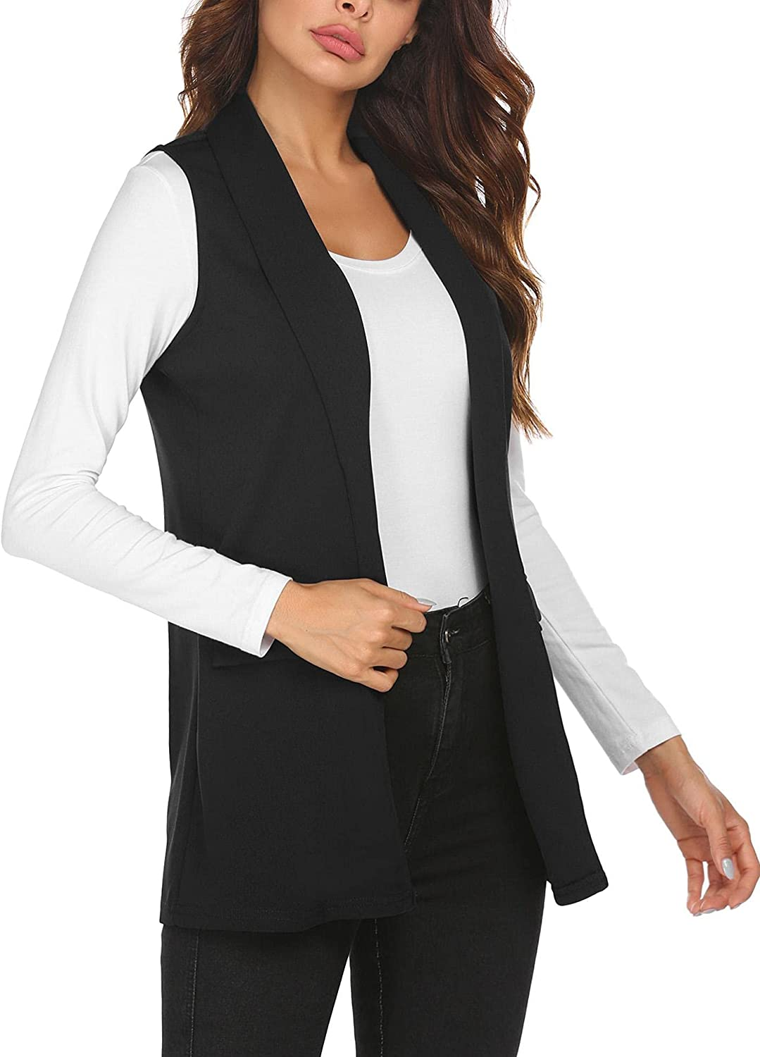 HOTLOOX Women's Sleeveless Vest Long Cardigan Vests Casual Open Front Trench Coat Jacket with Pockets S-XXL