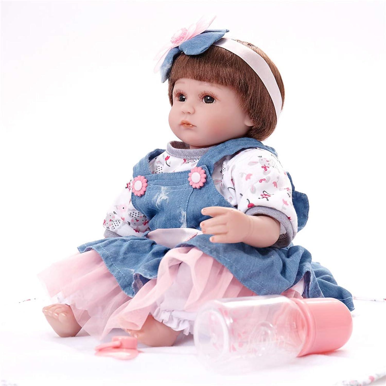 Kesoto Real Life 17inch Reborn Awake Baby Doll Newborn Size Fake Toddler Doll Dress in Denim Dress Acrylic Brown Eyes