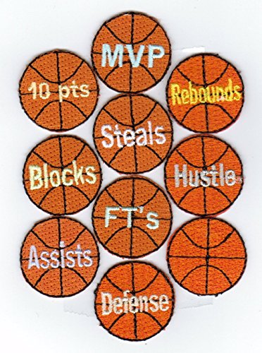 Basketball Award Patches 2 x 10-Packs (20 Patches) Design Variety 100% Embroidered Iron-On Backing Nevada