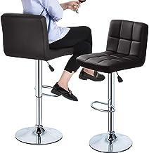 Bar stools Set of 2 Comfortable PU Leather Adjustable 360-swivel barstools with Back