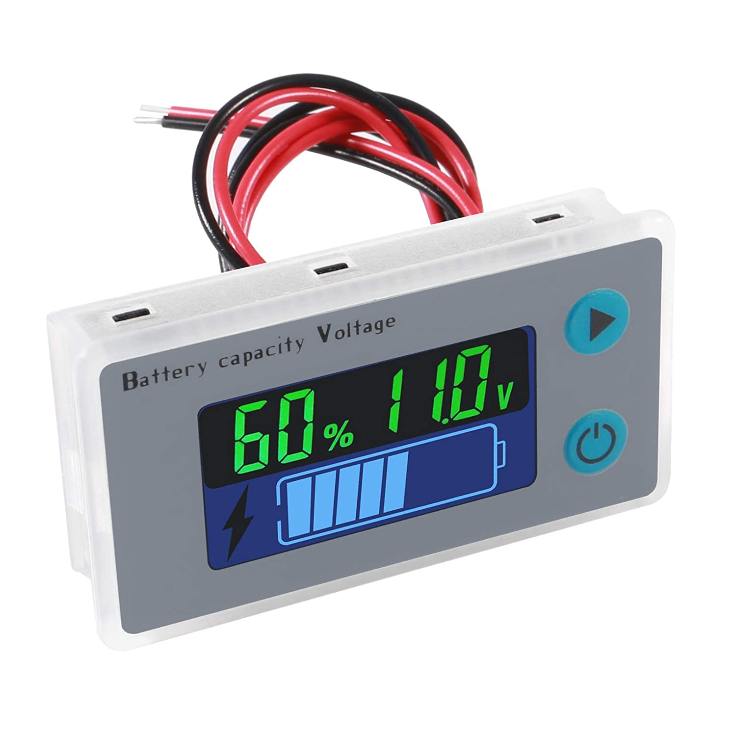 LCD Battery Meter Monitor, 48V Digital Battery Remaining Capacity Percentage Level Voltage Temperature Monitor Tester, 10-100V 12V 36V 24V 48 Volt Electric Boat Battery Power Analyzer with Cable
