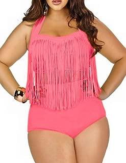 Womens Plus Size High Waist Fringe Swimwear Two Piece Swimsuit