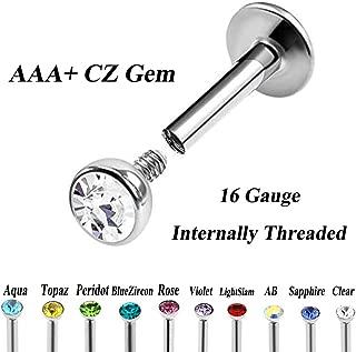 1 pc Stainless Steel Internally Threaded Flat CZ Gem labret Lip Piercing Stud Ring Monroe Ear Cartilage Upper Ear Stud Helix