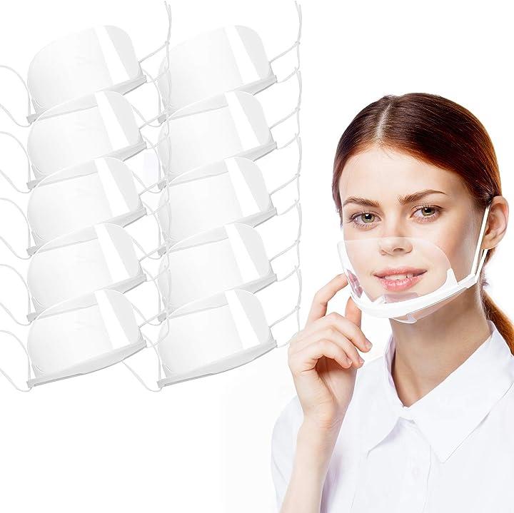 Mascherina in plastica emergenza covid trasparente coperchio antinebbia per proteggi il viso antisaliva 10pezz SGODDEhensoiet142