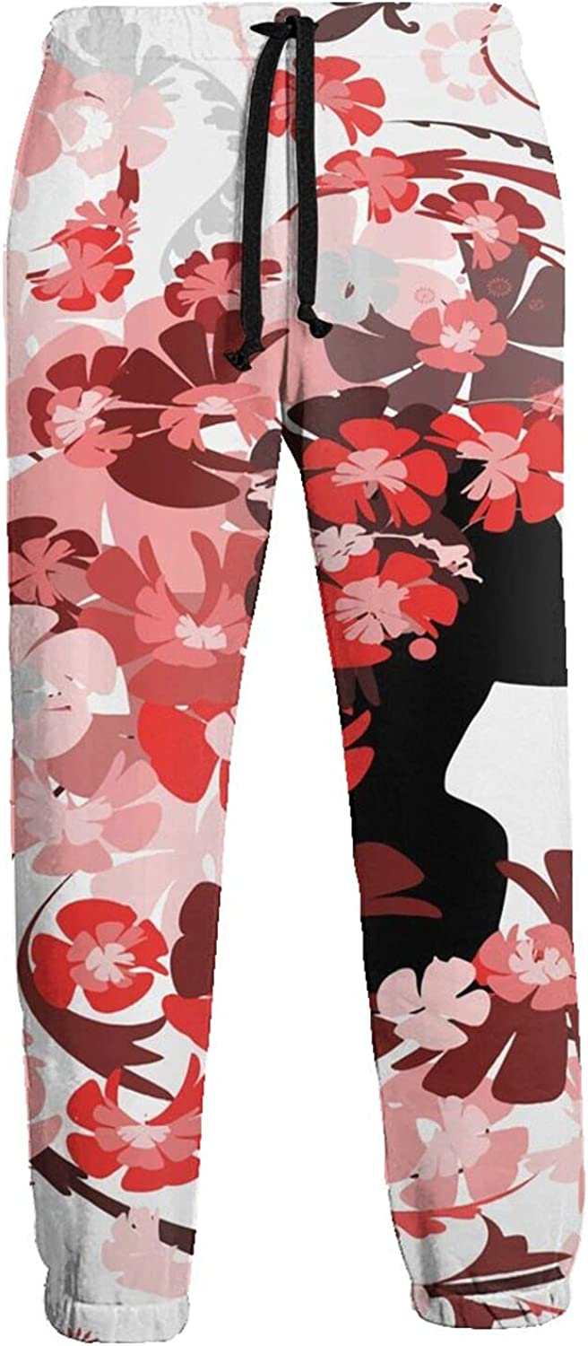 Mens Jogger Sweatpants Flower Girl Long Hair Lightweight Workout Athletic Joggers Pants Trousers