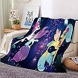 My Little Pony Throw Blankets Kawaii Cartoon Pattern Kids Fleece Blanket for All Season for Sofa Bed Couch Chair (40x50)