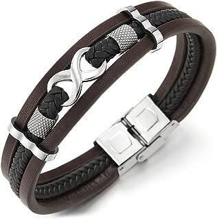 COOLSTEELANDBEYOND Three-Row Infinity Love Number 8 Friendship Brown Black Braided Leather Bangle Wristband Bracelet