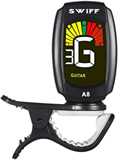 Rinastore Clip-On Tuner For Guitar, Bass, Violin, Ukulele & Chromatic Tuning Modes, Large Colorful LCD Display (RN-A8CS)