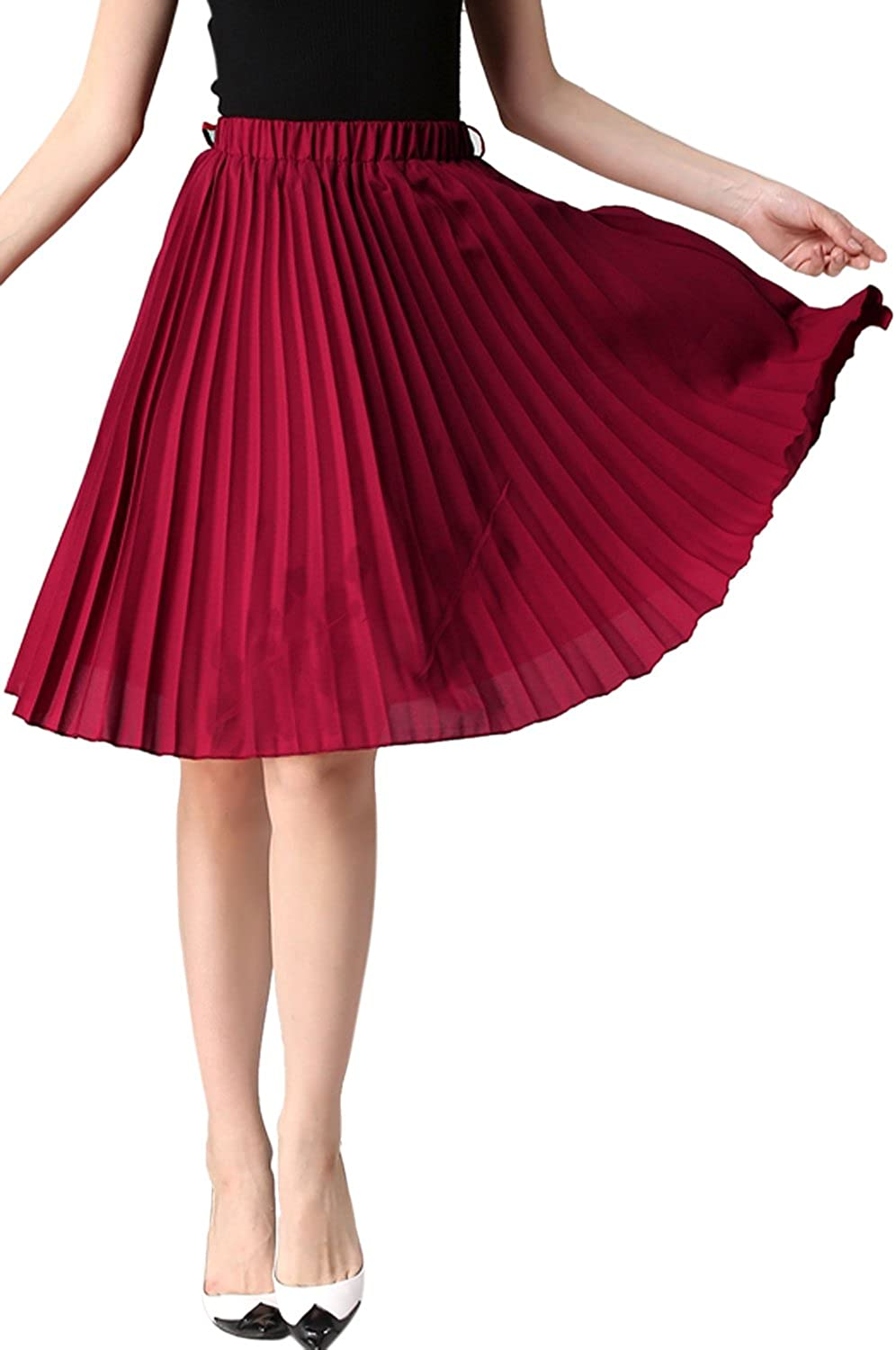 Women A-Line Skirts Casual Solid Midi Everyday Pleated Skirt
