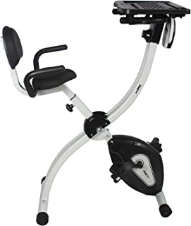 Xspec Foldable Stationary Upright Exercise Bike w/Heart Rate 8-Level Magnetic Resistance LCD Monitor w/Desk Adjustable Cardio Workout Indoor Cycling