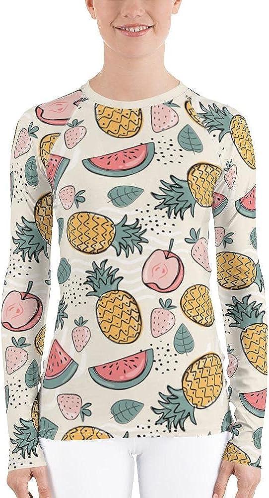 Fruit Pattern Women's Rash Guard, Pineapple Print Surf Long Sleeve Swim Shirt Swimwear Sun Beach Wet Suit Protection 40 UPF