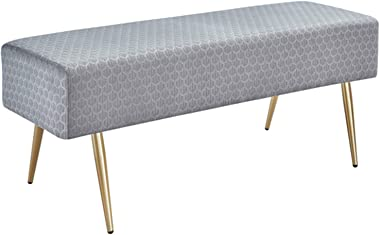 45.7 in Velvet Bench Footstool, Rectangular Bed End Bench with Golden Metal Legs and Non-Slip Foot Pads for Living Room Bedro