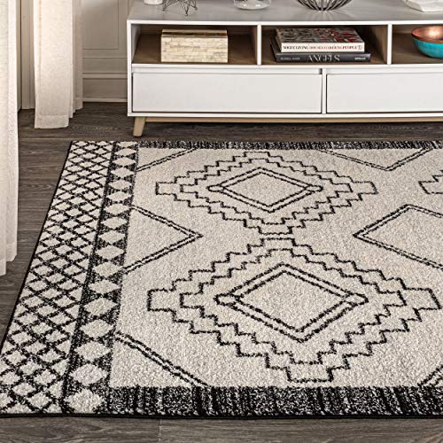 JONATHAN Y Amir Moroccan Beni Souk, Bohemian, Easy-Cleaning, for Bedroom, Kitchen, Living Room, Non Shedding Area-Rugs, 8 X 10, Cream,Black
