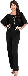 KOH KOH Womens Short Sleeve Wide Leg Long Pant Suit Jumpsuit One Piece Romper