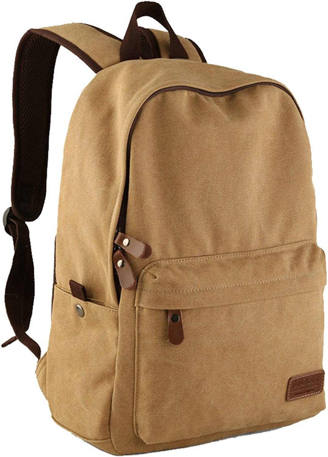 Gumstyle Men Women Vintage Canvas Backpack Rucksack School Satchel Travel Hiking Bag Khaki