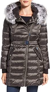 Women's Short Bomber Down Jacket with Faux Fur Hood R1881