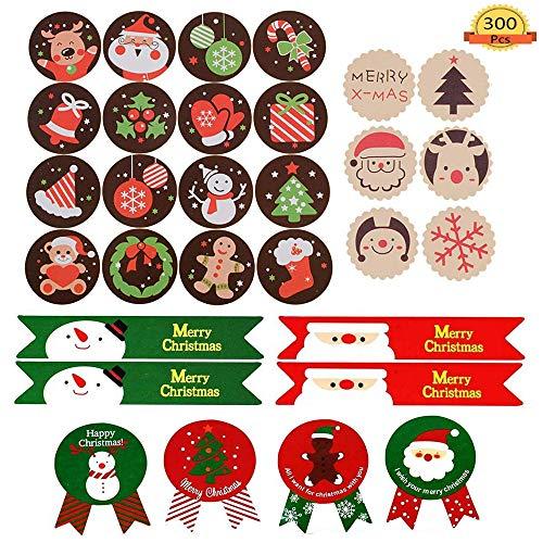 300 pcs Pegatina Navidad Etiqueta Adhesiva Decoracion para Bolsa Papel Regalo Recuerdo Boda Cumpleaños Navidad